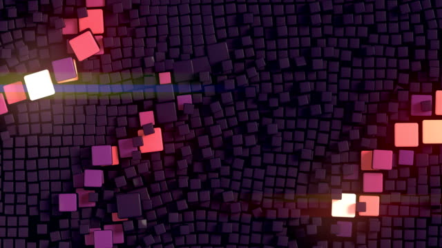 Abstract landscape of three-dimensional boxes. Digital animation background. 3d rendering. 4K, Ultra HD resolution