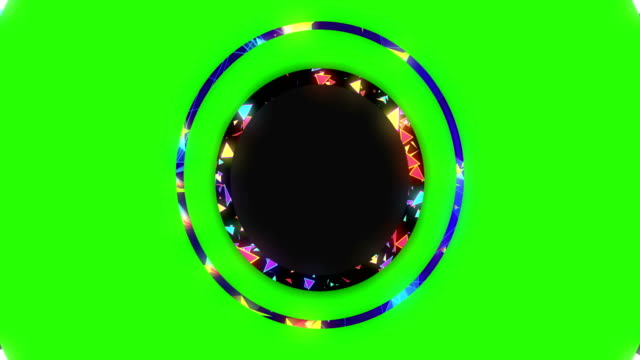 abstract laser glow lights rotating in concentric circles, rainbow psychedelic spectrum of colors, disco dancing and electronic music background, seamless loop ready on chroma key green screen - music filmów i materiałów b-roll