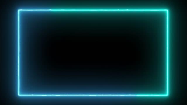 vidéos et rushes de cadre de néon léger abstrait sur le fond noir. laser montrent l'animation en boucle . vidéo 4k - bordure