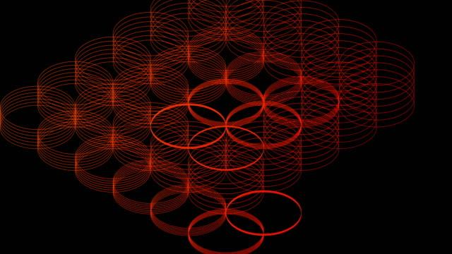 抽象的なライン3d仮想アイソメ円照明移動、技術ネットワークデジタルデータ転送コンセプトデザイン、黒の背景アニメーション4kに輝く - 鎖の輪点の映像素材/bロール