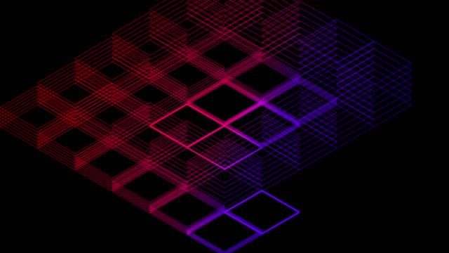 stockvideo's en b-roll-footage met abstract line 3d virtuele isometrische vierkante verlichting bewegende, blockchaintechnologie netwerk digitale gegevensoverdracht concept ontwerp, gloeien op zwarte achtergrond animatie 4k - isometric