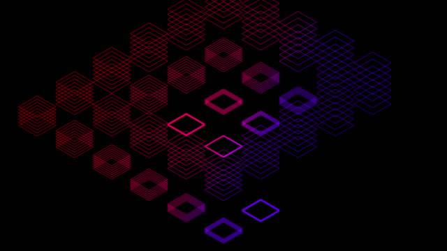 soyut çizgi 3d sanal izometrik kare aydınlatma hareketli, blockchain teknolojisi ağ dijital veri transferi kavramı tasarım, siyah arka plan animasyon 4k üzerinde parlayan - dijital montaj stok videoları ve detay görüntü çekimi