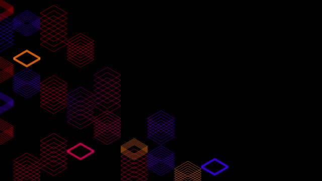 stockvideo's en b-roll-footage met abstract line 3d virtuele isometrische vierkante verlichting bewegende, blockchaintechnologie netwerk digitale gegevensoverdracht concept ontwerp, gloeien op zwarte achtergrond animatie 4k met matte alfakanaal - isometric