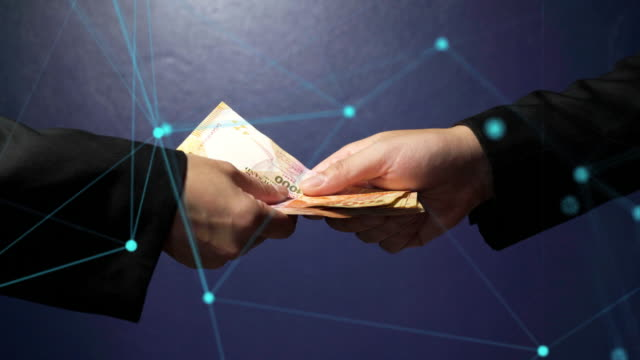 Abstract Line of the connected Businessman giving money to his partner.
