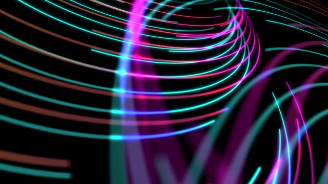 Abstract Line spiral lighting moving pink yellow and blue color, technology network digital data transfer concept design, glowing on black background seamless looping animation 4K with copy space video