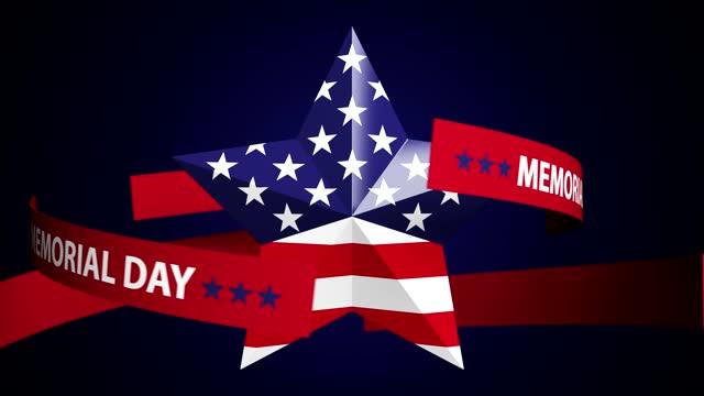 абстрактная петля поворота звезды с сша флагом и день памяти текст фон - memorial day стоковые видео и кадры b-roll