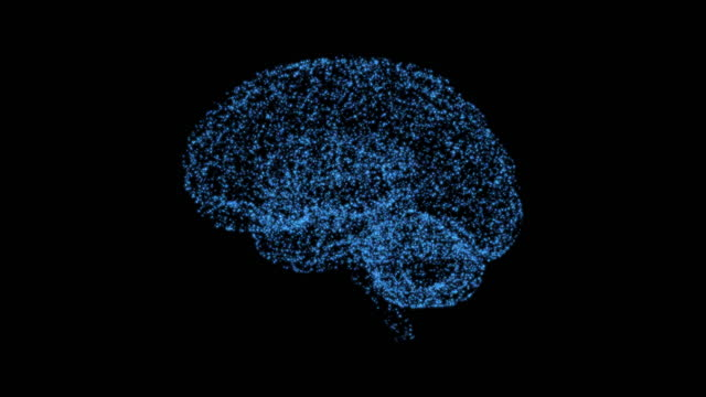 4K Abstract Loopable Brain Particles Animation, Artificial Intelligence, Black Color Background
