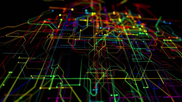 abstract looped background as technological concept with many lines and nodes of different colors. Sci-fi bg of glow particles form lines like electrical circuit or microcircuit video