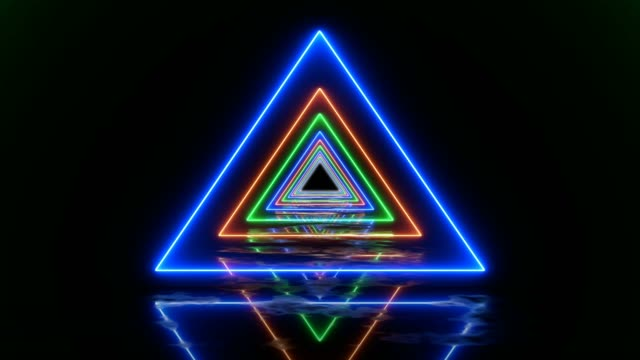 Abstract Looped Background Tunnel With Colored Triangle Lines