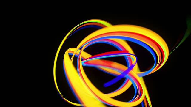 abstract looped background with multicolored lines curling in helix structure. Color streaks fly and form curls. video