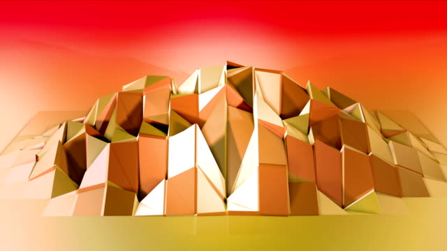 Abstract low poly style looped background. 3d seamless animation in 4k. Modern gradient colors. Low poly red yellow surface with copy space v4 video
