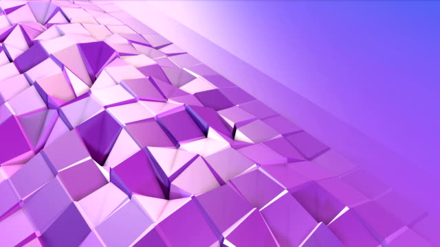 Abstract low poly style looped background. 3d seamless animation in 4k. Modern gradient colors. Low poly violet blue surface with copy space v2 video