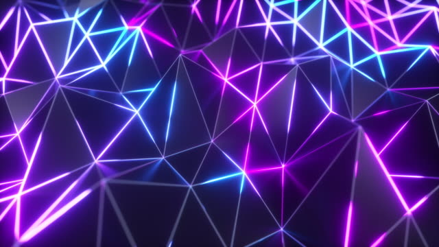 Abstract low polygonal black surface glowing at the edges. Seamless loop 4k cg technology motion background. Segments of a triangle. Ultraviolet neon wireframe lines in blue violet color spectrum. video
