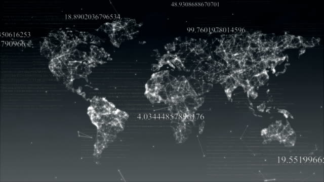 Abstract map of the world with the structure of the plexus, numbers and particles.