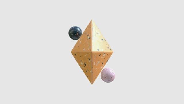 grafica di movimento di rendering 3d astratti a forma di marmo - elemento del design video stock e b–roll