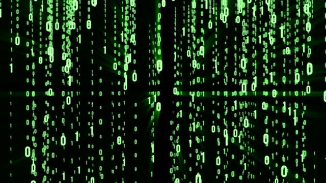 vídeos de stock e filmes b-roll de abstract matrix background. binary computer code. coding and hacker concept. motion tech background. - bit código binário