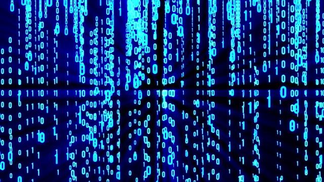 vídeos de stock e filmes b-roll de abstract matrix background - bit código binário