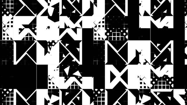 abstract matte pattern of triangles, squares, lines, loopable background - funky video stock e b–roll
