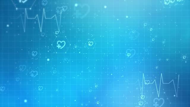vidéos et rushes de fond médical abstrait avec des icônes plates et des symboles loop animation background. - timeline