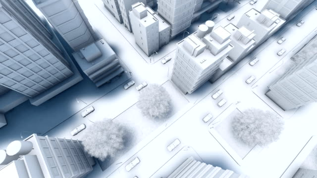 vidéos et rushes de vue aérienne de la ville moderne abstrait rue trafic - voiture blanche