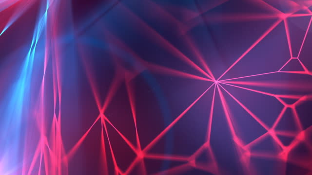 Abstract modern red and blue glowing wire background loopable animation. 3d rendering video