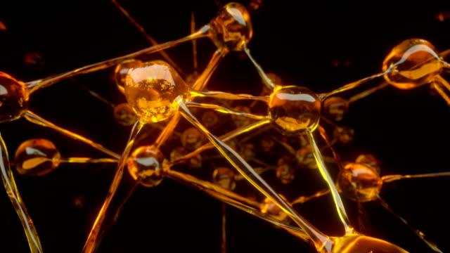 vídeos y material grabado en eventos de stock de resumen de las moléculas de aceite. animación de uhd de 4 k - molécula