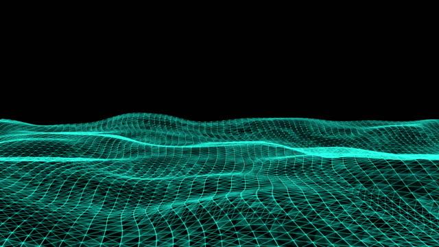 vídeos de stock, filmes e b-roll de terreno de fio poligonal futurista do fundo do movimento abstrato. fundo para apresentações de negócios. estrutura molecular linhas plexo. - relevo