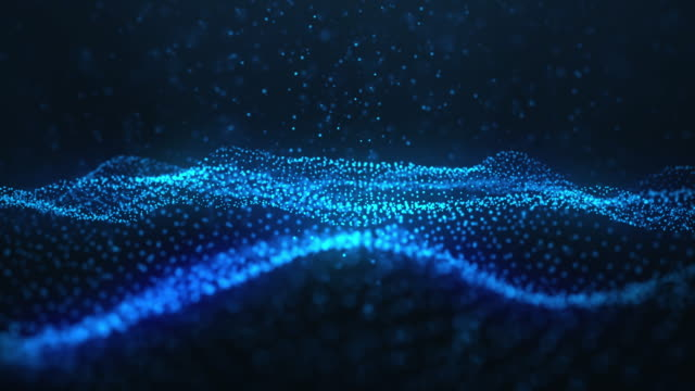 Abstract motion background of shining particles. Digital signature with wave particles, sparkle. Beautiful blue floating particles with shine light rise up. Seamless Loopable 3D. 4K animation