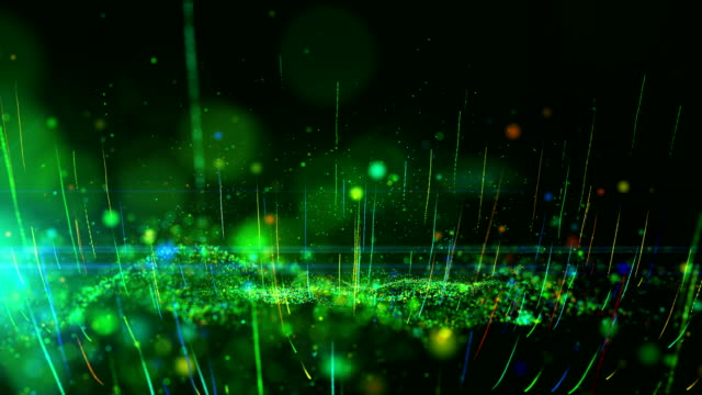 Abstract motion background shining green and colorful dust particles glow, wave and grow up movement. - vídeo