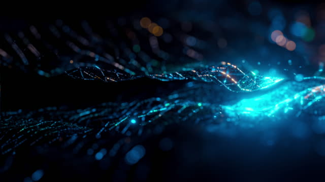 Abstract motion background Abstract motion background, Heat waves that look like green-blue fiber and projections seamless loop. hologram stock videos & royalty-free footage