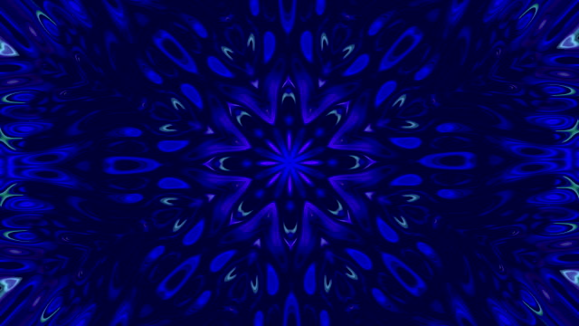 abstract motion background with kaleidoscope view with shapes of flowers that open and close with changing movement in shapes and blue, light blue and white colors - мандала стоковые видео и кадры b-roll