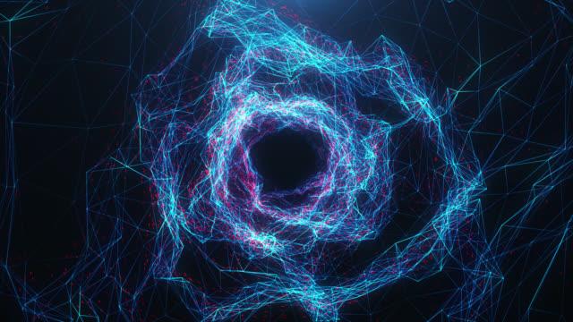 wormhole digitale a movimento astratto, tunnel costituito da particelle e linee scintillanti blu e rosse. attraversa la rete digitale bellissime particelle blu e rosse. animazione 3d 4k loopable senza soluzione di continuità - galassia video stock e b–roll