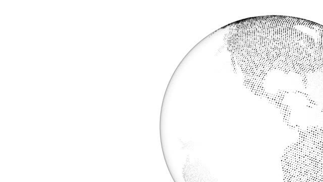 回っている地球 (ループ) - 抽象的なモーション グラフィックス - キラキラ 白背景点の映像素材/bロール