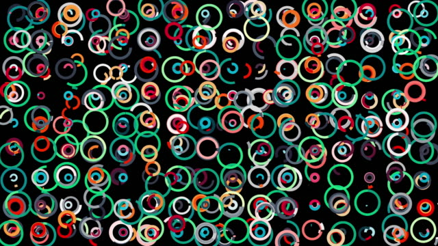 Abstract moving narrow lines forming many circles swaying on black background, seamless loop. Animation. Colorful round figures, rings spread chaotically video