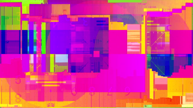 vídeos de stock e filmes b-roll de abstract multi color realistic screen glitch flickering, analog vintage tv signal with bad interference and color bars, static noise background, overlay ready - corruption