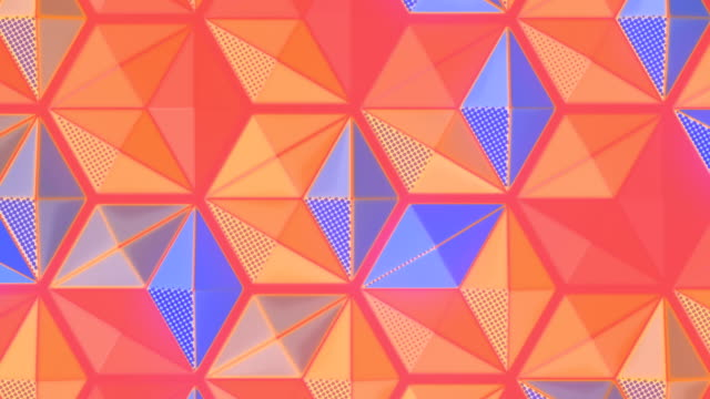 Abstract multi colored pattern seamless loop animation. Hexagon decoration. 3d rendering design element. HD resolution