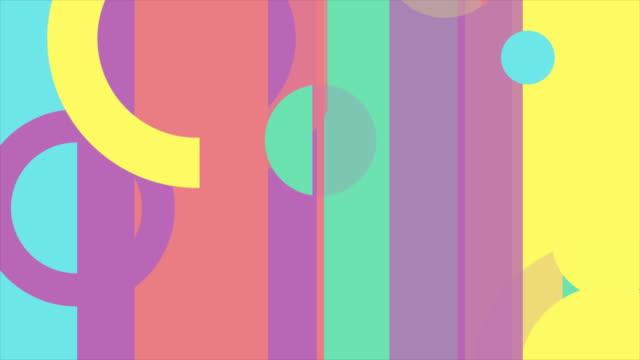 vídeos de stock, filmes e b-roll de fundo brilhante mínimo geométrico colorido abstrato do movimento - cor vibrante