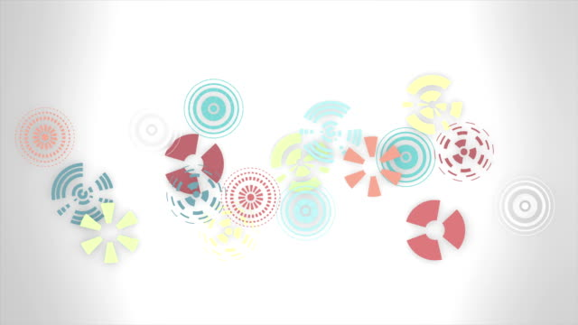 Abstract multicolored round animation, hi-tech background with circles. Futuristic Sci-Fi HUD effect. video