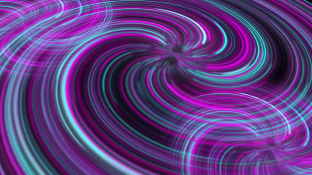 Abstract neon background of spiral graphic fantasy shimmer loop motion in deep space with black hole in the center.
