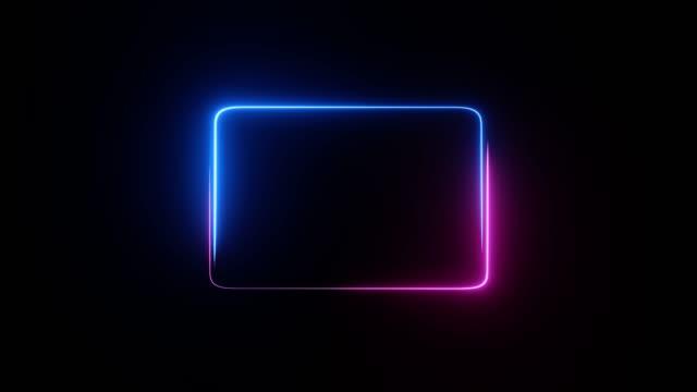 vídeos y material grabado en eventos de stock de marco de neón abstracto. luces de neón bucles de movimiento movimiento circular cuadrado. animación de vídeo ultra hd 4k 3840x2160 - continuidad