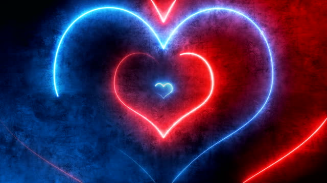 vídeos de stock e filmes b-roll de abstract neon hearts (loopable) - trippy background