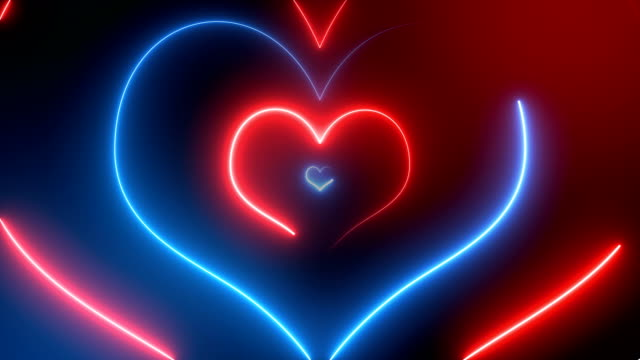 Abstract Neon Hearts (Loopable) Soft Background lighting technique stock videos & royalty-free footage