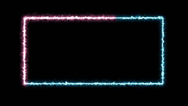 Abstract neon, led square, border. Futuristic colorful render