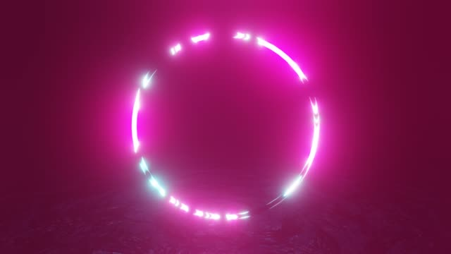 Abstract neon light torus. Appear and disappear disco ball. Abstract ultraviolet loop 4K background.