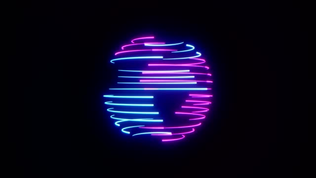 abstrakte neon-sphäre hintergrund. - kugelform stock-videos und b-roll-filmmaterial