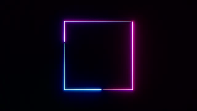 Abstract neon square frame. Abstract neon square frame. Seamless loop. square composition stock videos & royalty-free footage