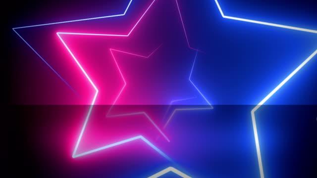 抽象的な, ネオン, 星の形, 背景ピンクと青 4 k, ループ可能 - 星型点の映像素材/bロール