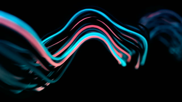 4k abstract neon wavy lines. - frequenza video stock e b–roll