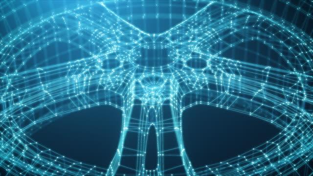 추상 네온 와이어 프레임 림 회전 - formula 1 스톡 비디오 및 b-롤 화면