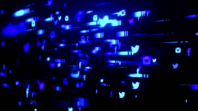 vídeos y material grabado en eventos de stock de red abstracta azul oscuro - enfoque en primer plano